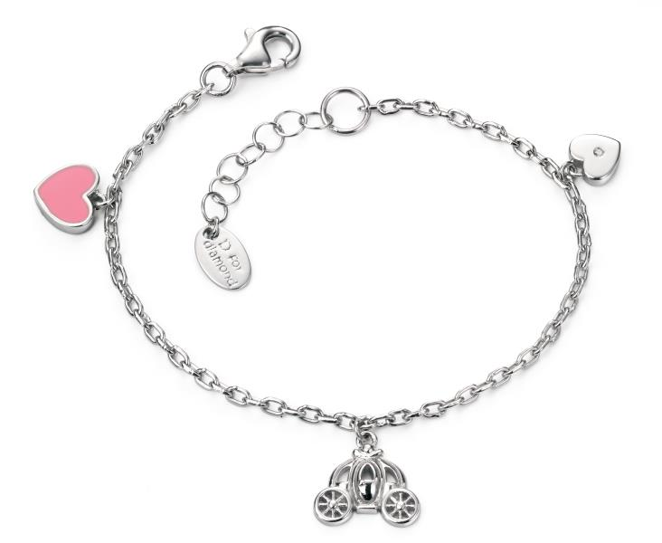 D For Diamond Double Heart And Fairy Carriage Bracelet