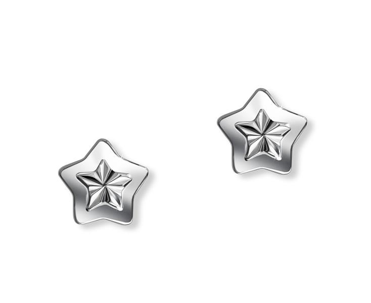 Childs Silver Star Studs D For Diamond