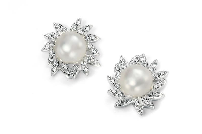 Clear CZ And Freshwater Pearl Cluster Earrings