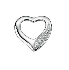 Clear CZ Cut Out Heart Pave Pendant