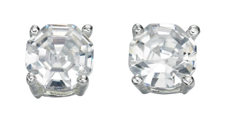 Clear CZ Faceted Stud Earrings