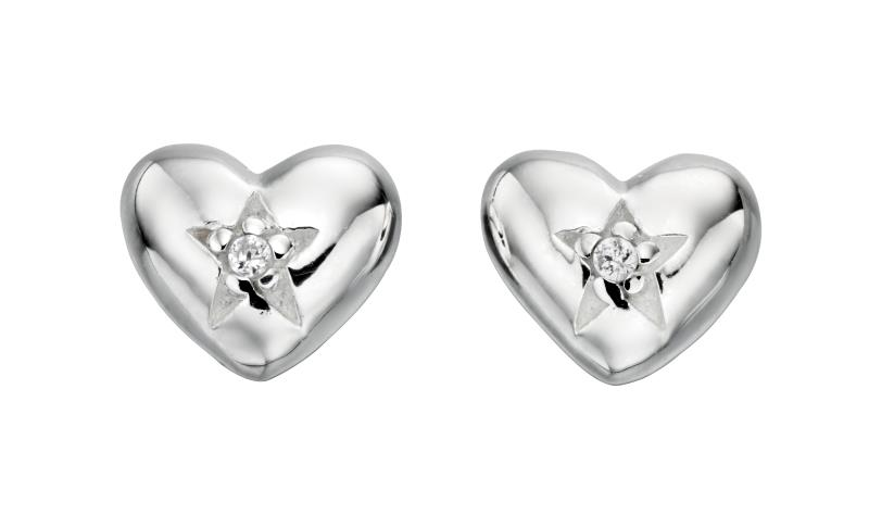 Clear CZ Heart Stud Earrings