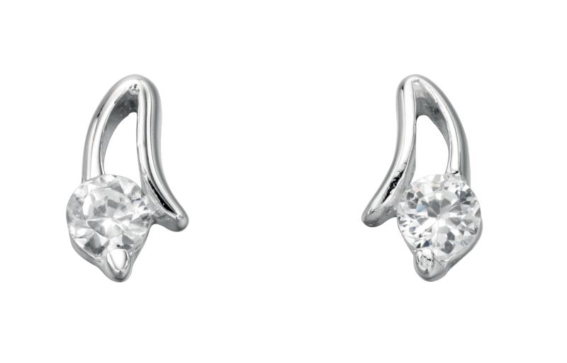 Clear CZ Open Setting Stud Earrings