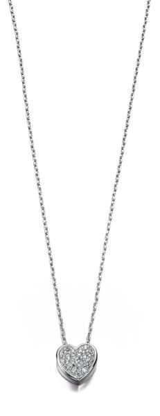 Clear CZ Pave Heart 40+5Cm Necklace