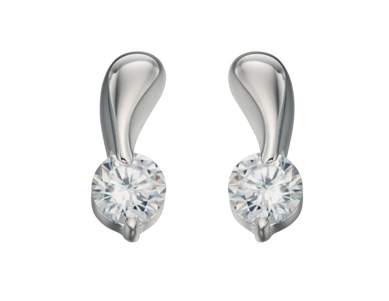 Clear CZ Twist Stud Earrings