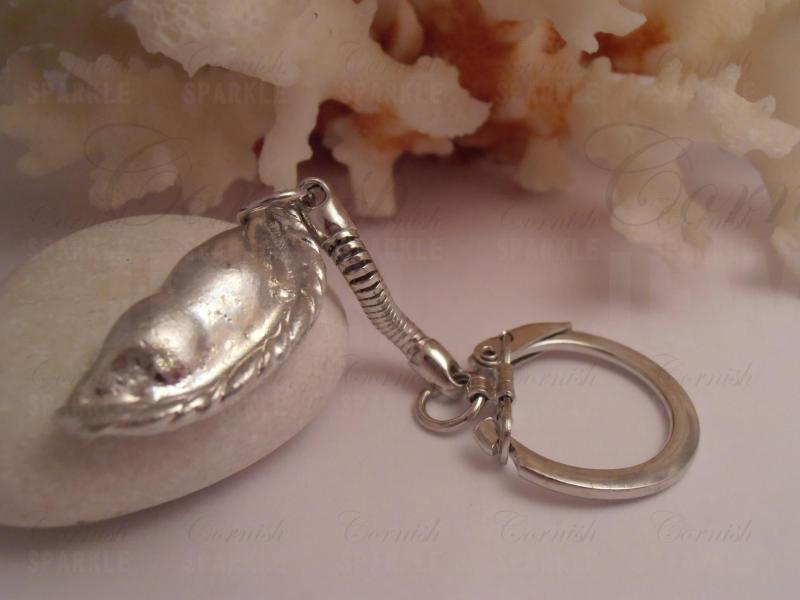 Cornish Pasty Keyring - Silver Coloured