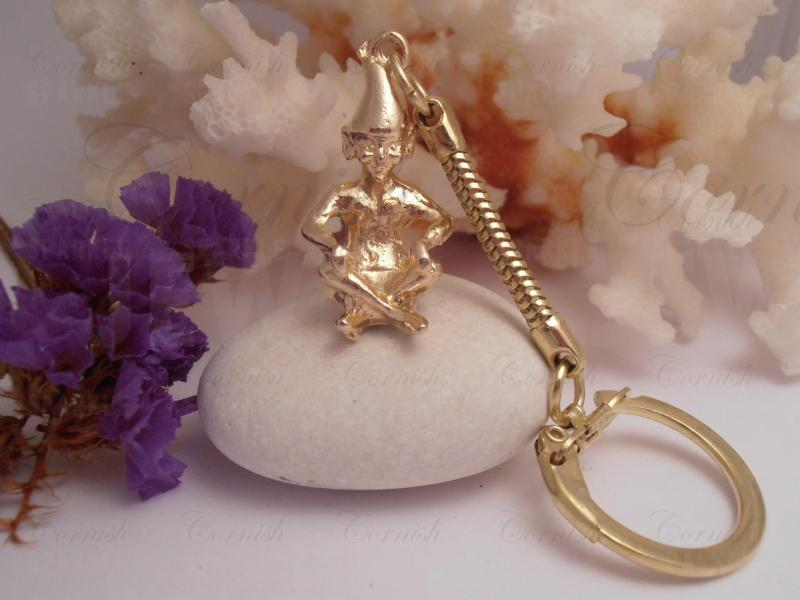 Cornish Pixie Keyring (Gold Coloured)