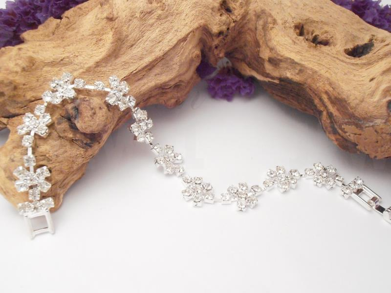 Crystal Diamante Flower Bracelet Rhinestone  Jewellery