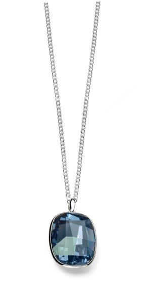 Swarovski Crystal Graphic Stone Pendant In Denim Blue