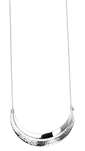 Curved Double  Bar Necklace With Hammered Detail