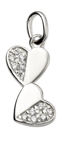 CZ Half Pave Double Heart Drop Pendant