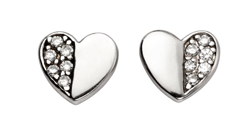 CZ Half Pave Heart Earrings