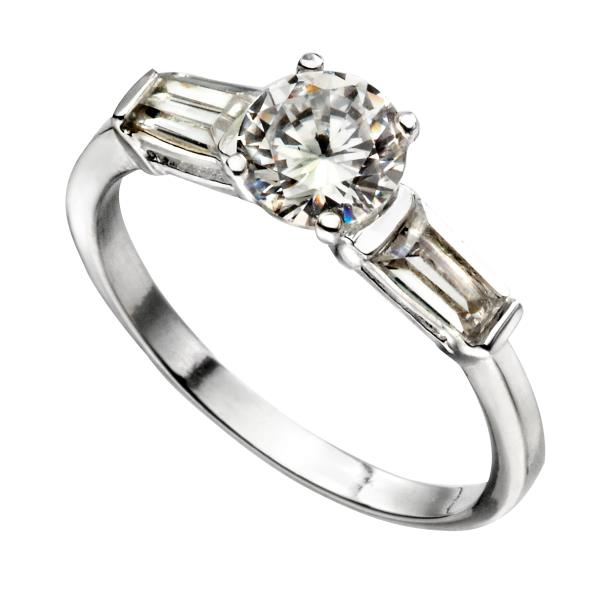 CZ Ring With Baguette Shoulders