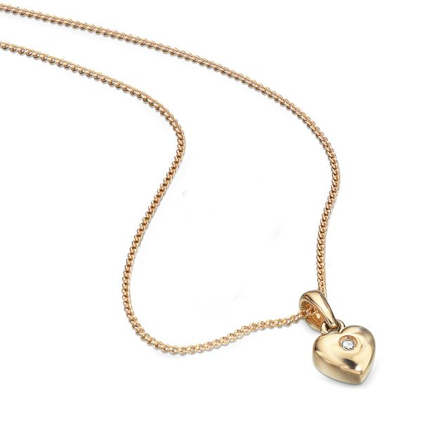 D For Diamond 9ct Yellow Gold Heart Pendent