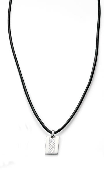 D For Diamond Boys Leather Dog Tag Necklace