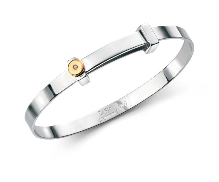 D For Diamond Gold Plated Detail Boys Bangle