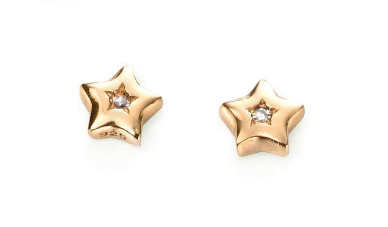 D For Diamond Gold Plated Star Earrings