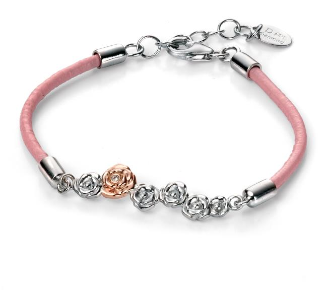 D For Diamond Pink Leather Roses Bracelet With Rose Gold Detail