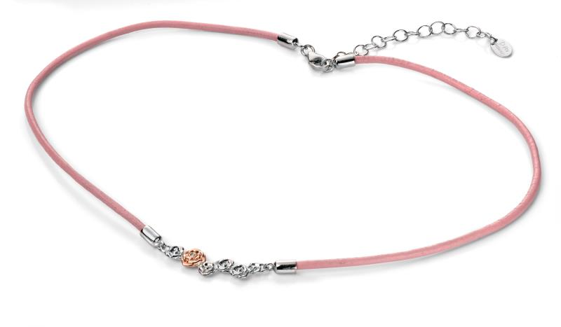 D For Diamond Pink Leather Roses Necklace With Rose Gold Detail