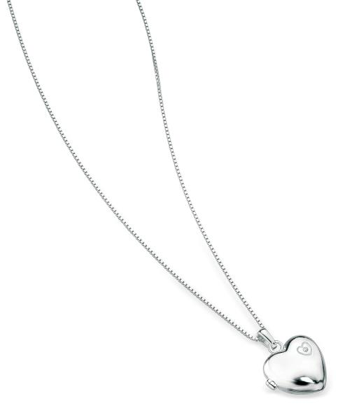 D For Diamond Rhodium Plated 925 Large Heart Locket