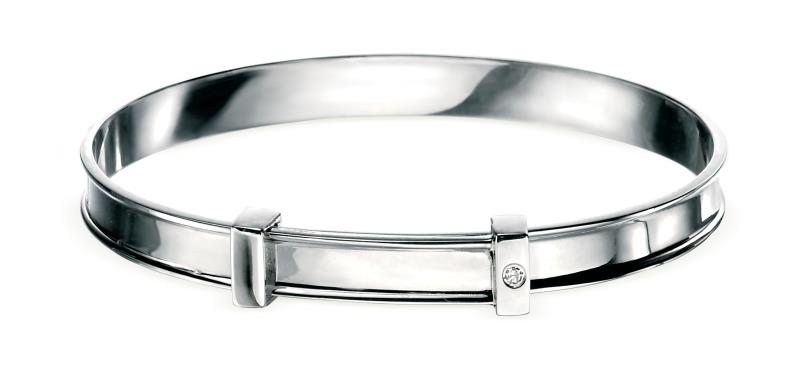 D For Diamond Rhodium Plated Baby Christening Bangle