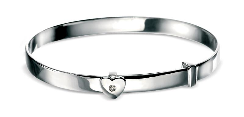 D For Diamond Heart Baby Bangle