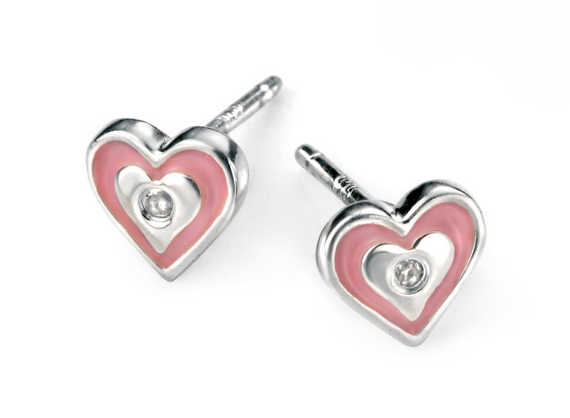 D For Diamond Rhodium Plated Pink Heart Earrings