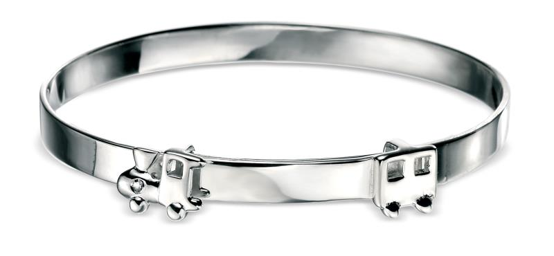 D For Diamond Rhodium Plated Train Motif Bangle