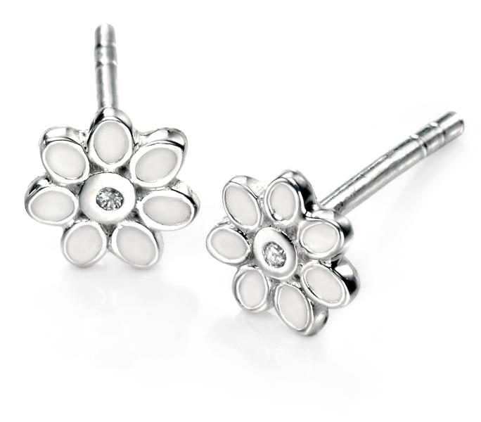 D For Diamond White Enamel Flower Earrings