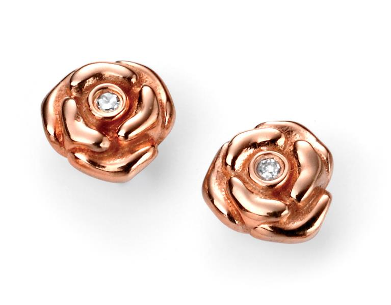 D For Diamond Rose Gold Plated Rose Stud Earrings