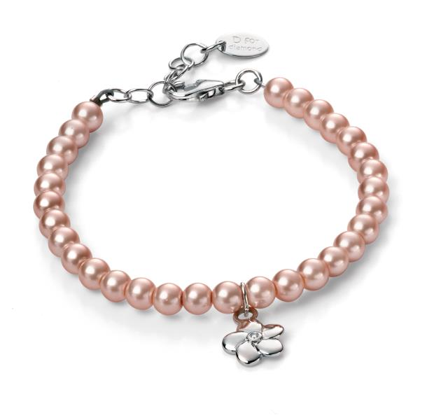 D For Diamond Rose Coloured Fresh Water Pearl Flower Bracelet