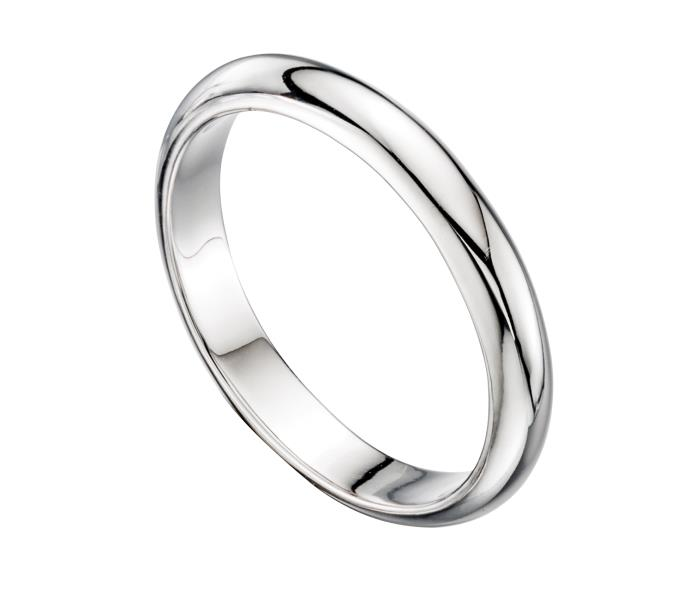 D Shape Mens Silver Wedding Band Ring