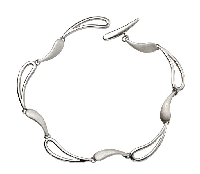 Designed Polished & Brushed Wave Toggle Bracelet