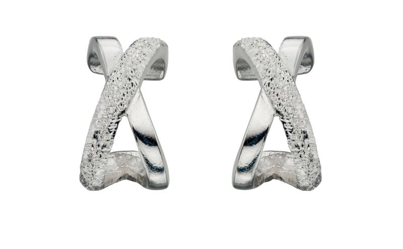 Diamnd Cut 1/2 Kiss Stud Earrings
