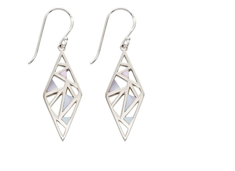 Diamond Cut Out Mother Of Pearl Inlay Earrings