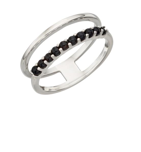 Double Bar Ring With Black Agate