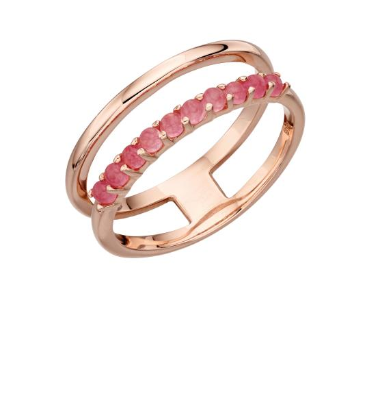 Double Bar Ring With Rose Gold Plate And Rose Jade