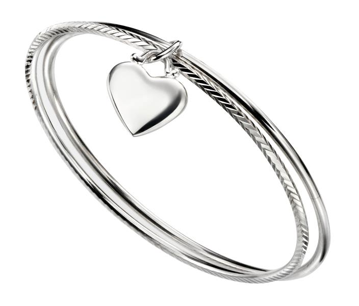 Double Diamond Cut Bangle With Heart