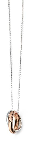 Rhodium Plated Double Disc Necklace With Rose Gold Detail
