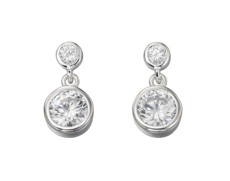 Double Drop Rubover CZ Earrings