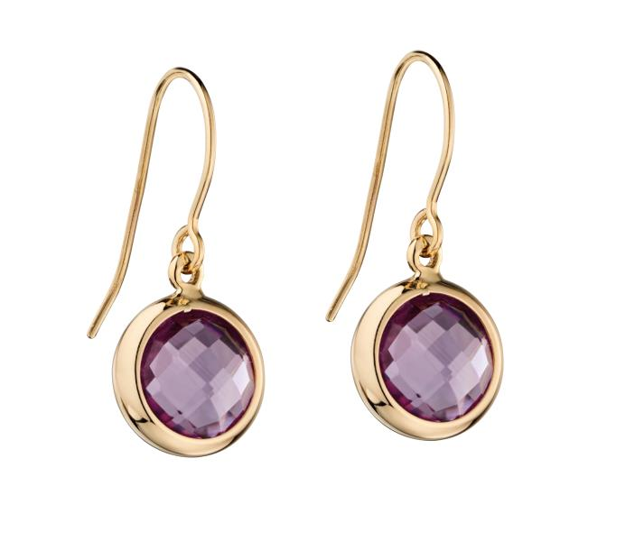 Earrings In Amethyst In Yellow Gold