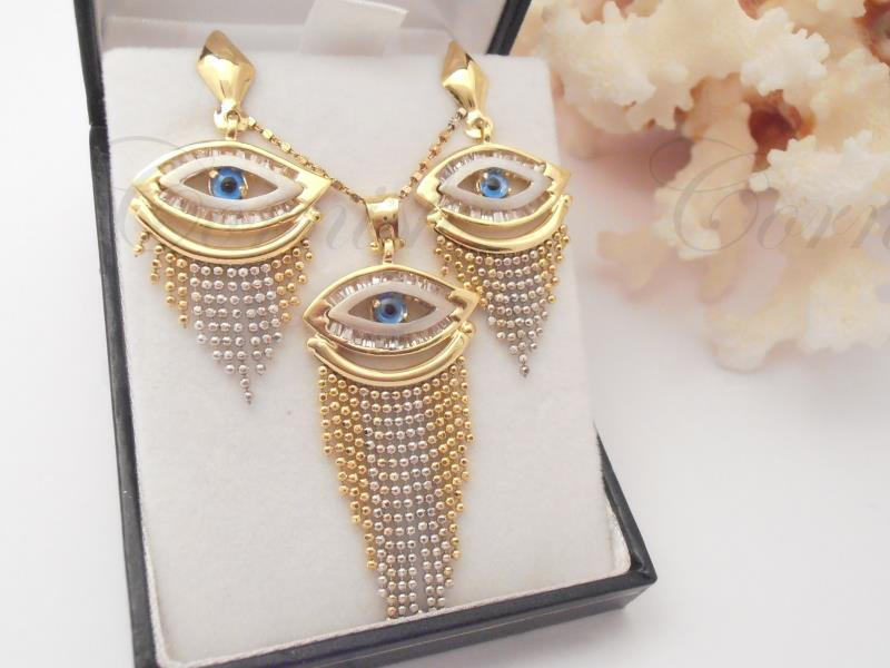 Egyptian 18ct Gold Evil Eye Necklace And Earrings 750