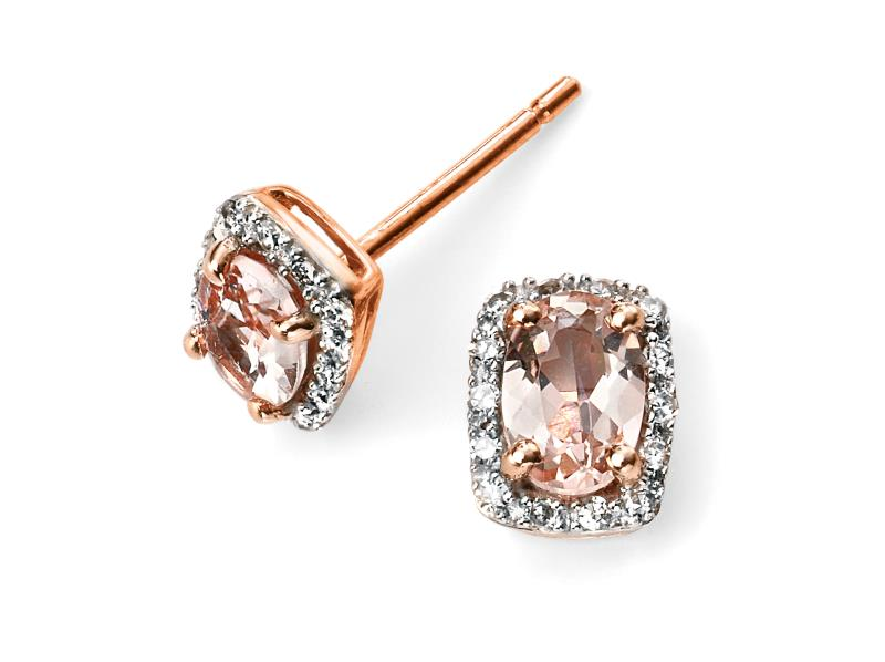 Elements Gold 9ct Rose Gold Diamond And Morganite Earrings