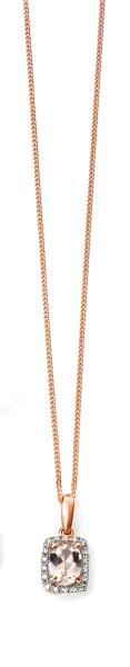 Elements Gold 9ct Rose Gold Diamond And Morose Morganite Pendant
