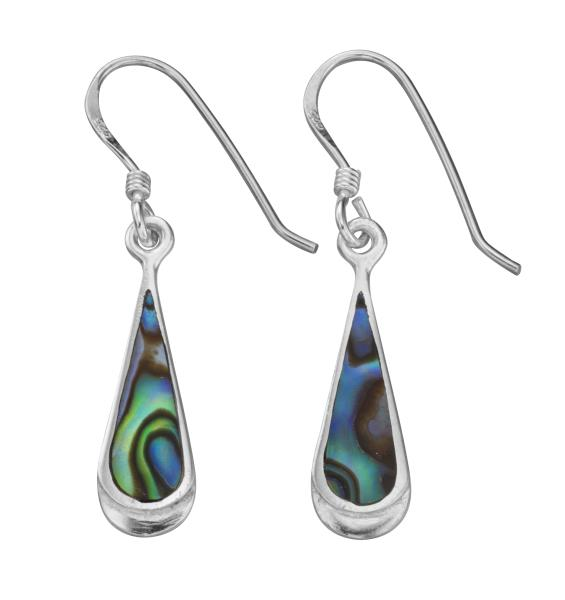 Elongated Teardrop Paua Shell Earrings