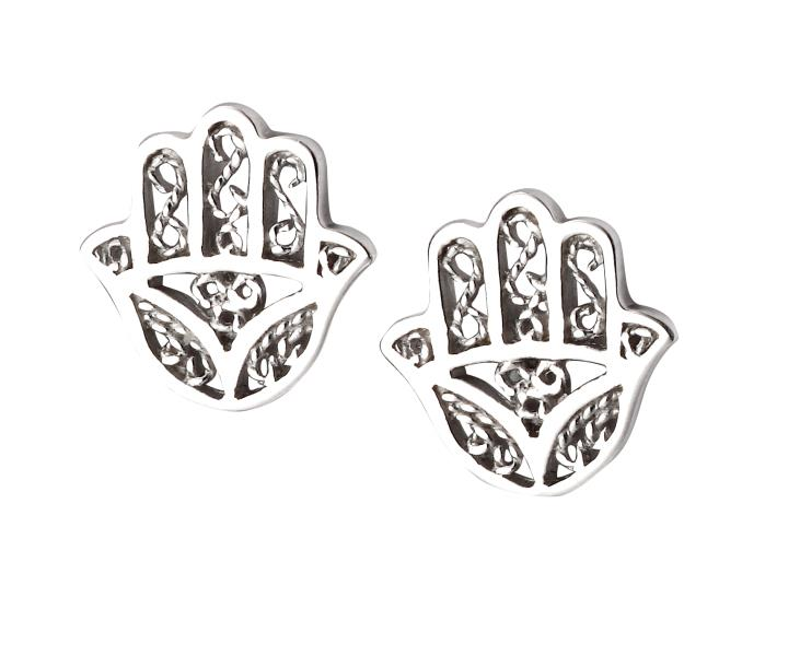Filigree Hamsa Hand Stud Earrings