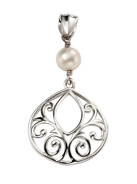 Filigree Pearl Drop Pendant