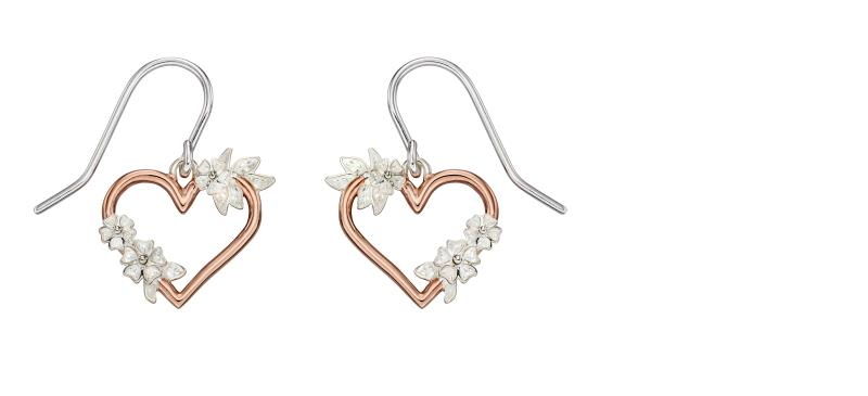 Floral Reef Rose Gold  Heart Earrings
