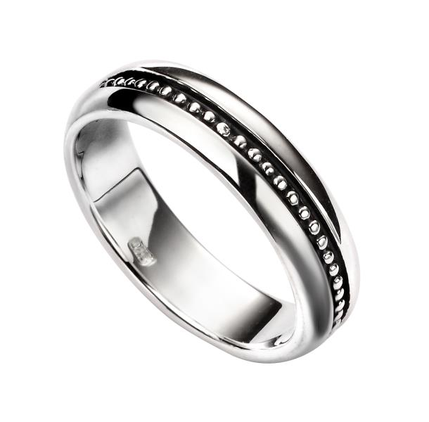 Gents / Ladies Silver Oxidised Pattern Ring