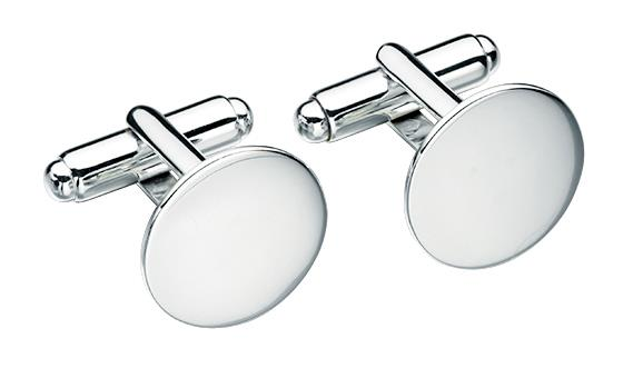 Gents Silver Plain Round Cufflinks